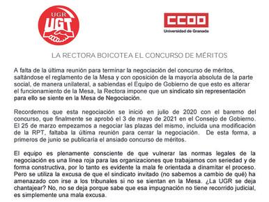 LA RECTORA BOICOTEA EL CONCURSO DE MÉRITOS