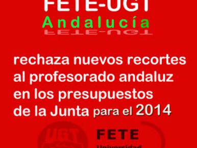 FETE-UGT Andalucía rechaza nuevos recortes al profesorado andaluz en los presupuestos de la Junta pa
