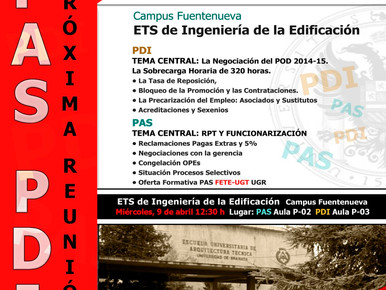 REUNIÓN  PAS Y PDI   ETS DE INGENIERÍA DE LA EDIFICACIÓN  (ANTIGUA ARQUITECTURA TÉCNICA)