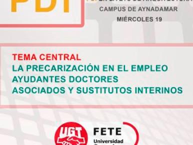 REUNIÓN INFORMATIVA PDI EN LA ETS DE ARQUITECTURA, CAMPUS DE AYNADAMAR. MIÉRCOLES 19
