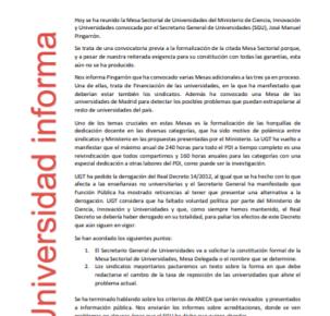 🔴 UGT | INFORMA: REUNIÓN DE LA MESA SECTORIAL ESTATAL DE UNIVERSIDADES
