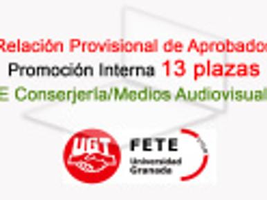 Relación Provisional Aprobados T.E. Conserjería Medios (UGR)