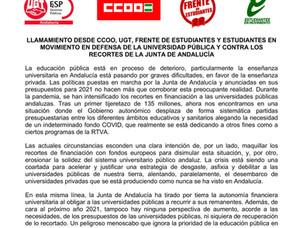 COMUNICADO CONJUNTO CONTRA LOS RECORTES DEL GOBIERNO ANDALUZ A LAS UNIVERSIDADES
