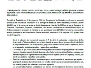 🔴UGT UGR INFORMA: PROCEDIMIENTOS EXCEPCIONALES ANULACION MATRICULA COVID19