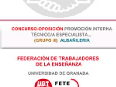 CONCURSO-OPOSICIÓN PROMOCIÓN INTERNA TÉCNICO/A ESPECIALISTA… GRUPO III ALBAÑILERIA