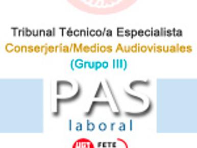 Tribunal Técnico/a Especialista Conserjería/Medios Audiovisuales (Grupo III)