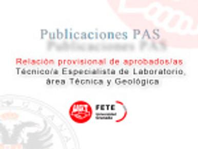 Relación provisional de aprobados/as  Técnico/a Especialista de Laboratorio, área Técnica y Geológic
