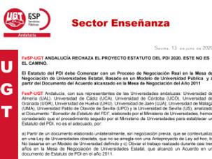 🔴 FeSP-UGT ANDALUCÍA RECHAZA EL PROYECTO ESTATUTO DEL PDI 2020. ESTE NO ES EL CAMINO.