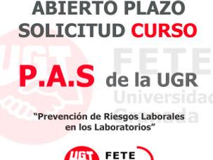 """ABIERTO PLAZO  SOLICITUD CURSO """"Prevención de Riesgos Laborales  en los Laboratorios"""" PARA PERSONAL"""