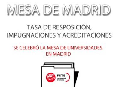 MESA DE MADRID: TASA DE RESPOSICIÓN, IMPUGNACIONES Y ACREDITACIONES