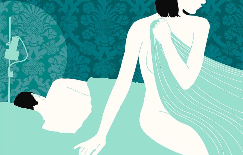 casal na cama. a mulher está sentada segurando o lençol cobrindo seu corpo e o homem está deitado