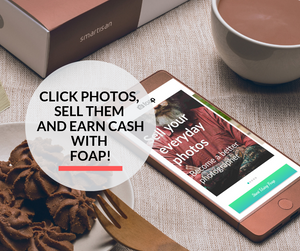 A smartphone lying on the table displaying the Foap app to help sell your photos.