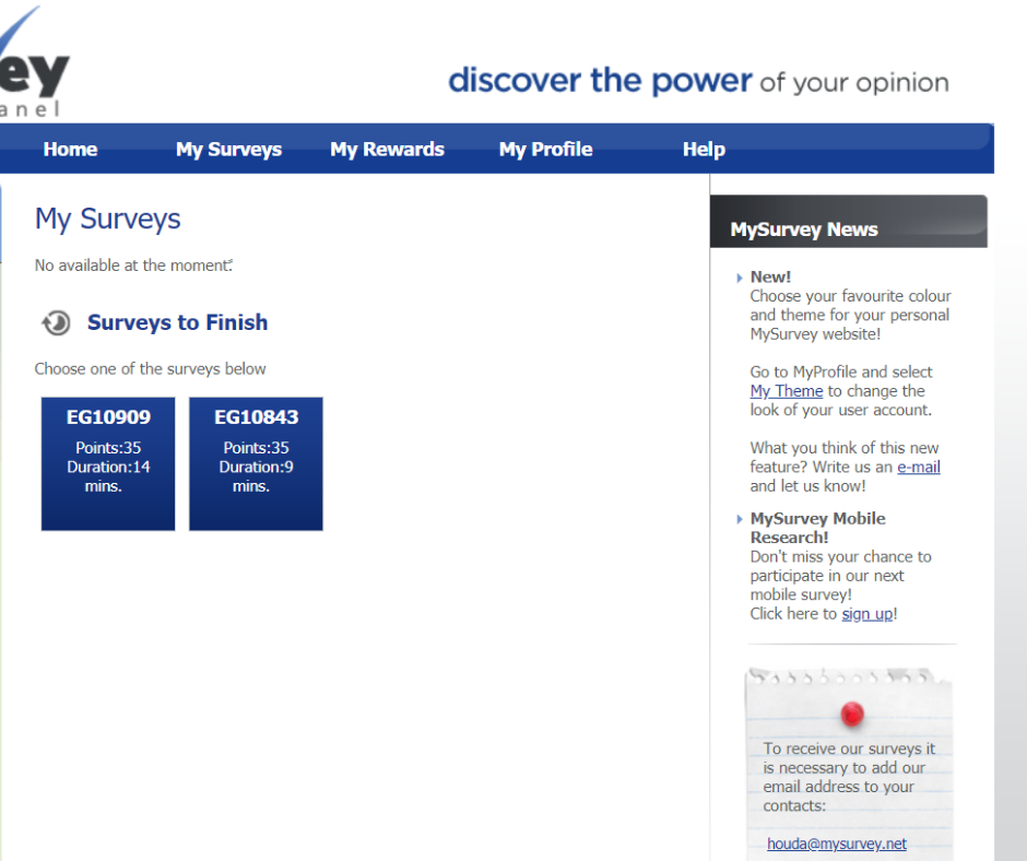 A screenshot of the surveys available on My Survey UAE.