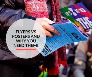 A man holding a flyer and poster, trying to understand the difference.