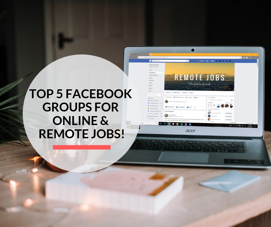 A laptop on a desk with the Facebook Group, Remote Jobs opened in the browser.