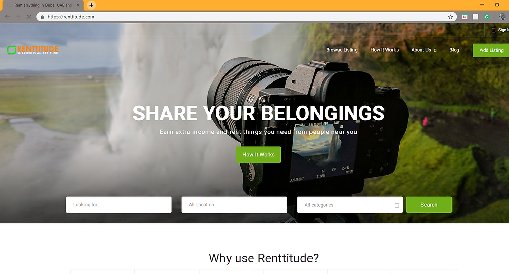 A screenshot of the Rentitude UAE website.