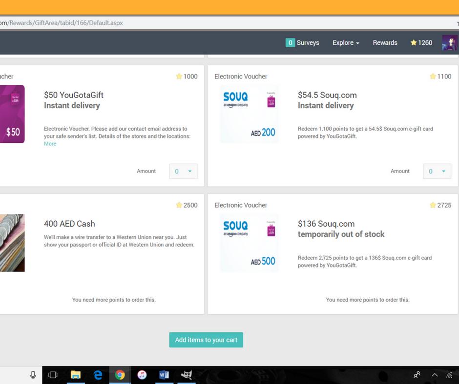 A screenshot showing the most popular rewards at Rewarding Panel.