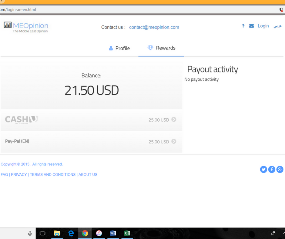 A screenshot of the MeOpinion website displaying the online wallet balance.