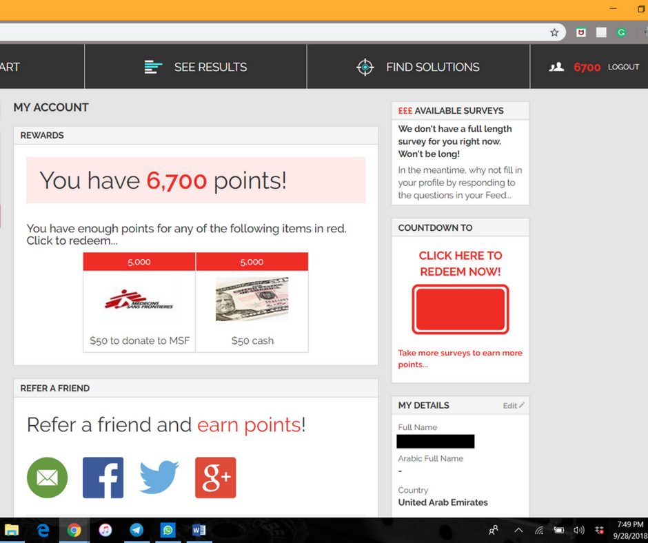 A screenshot of the YouGov site displaying the rewards section.