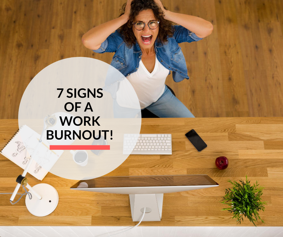 A lady under work stress experiencing a work burnout at her office.