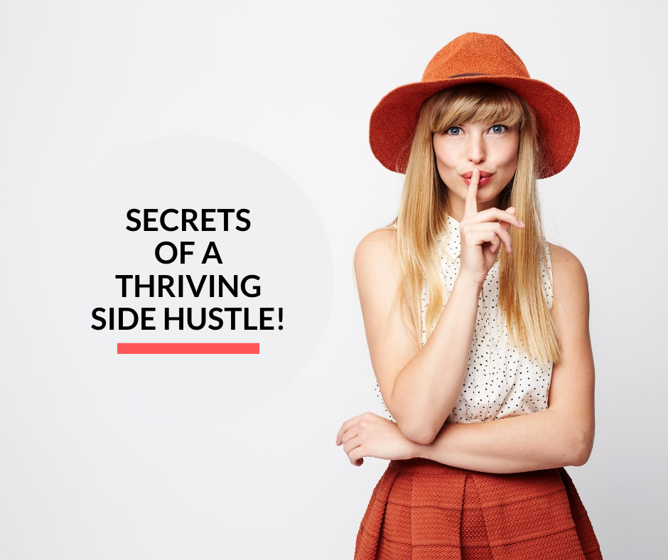 A lady revealing the secrets about a thriving side hustle.