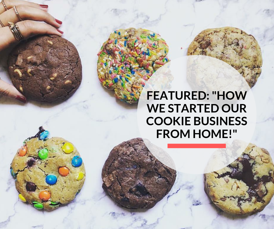 A lady placing a cookie besides Quarter Pound cookies prepared by Pretty Baked Dubai.