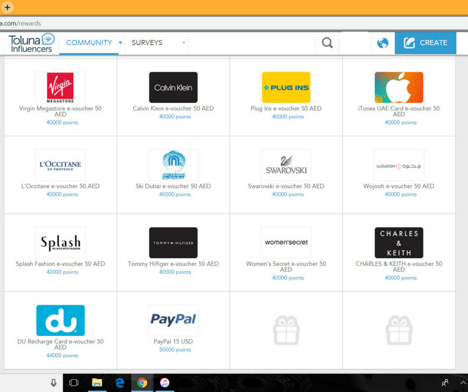 A screenshot of the Gift Vouchers, PayPal cash and other rewards available for redemption with Toluna.