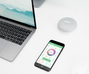 A smartphone besides a laptop, displaying the Monefy app to track personal expenses.