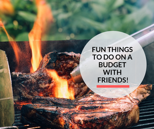 A person grilling meat on a grill with friends.