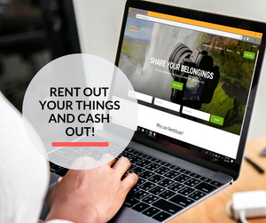 A man using the laptop to access the Rentitude UAE website to lend his things to earn money.