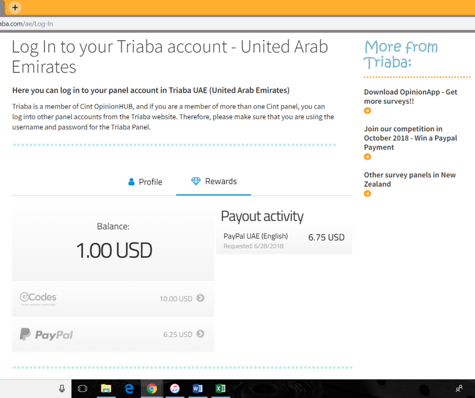 A screenshot of the Triaba website displaying the online wallet balance.
