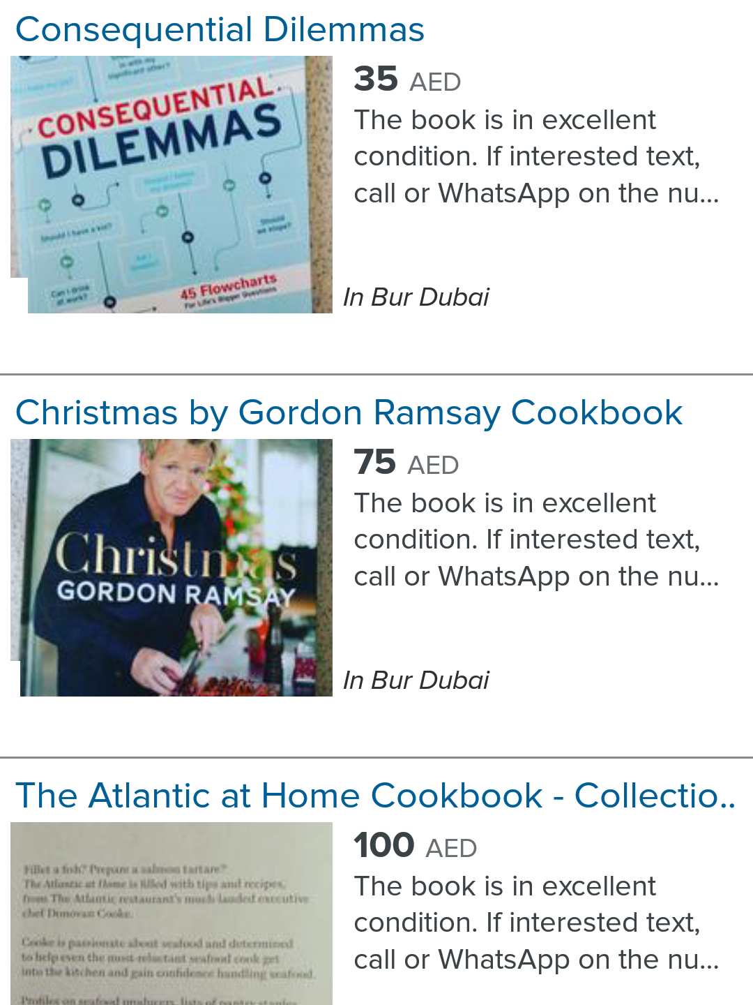 A screenshot of the ad listings on the Dubizzle App.