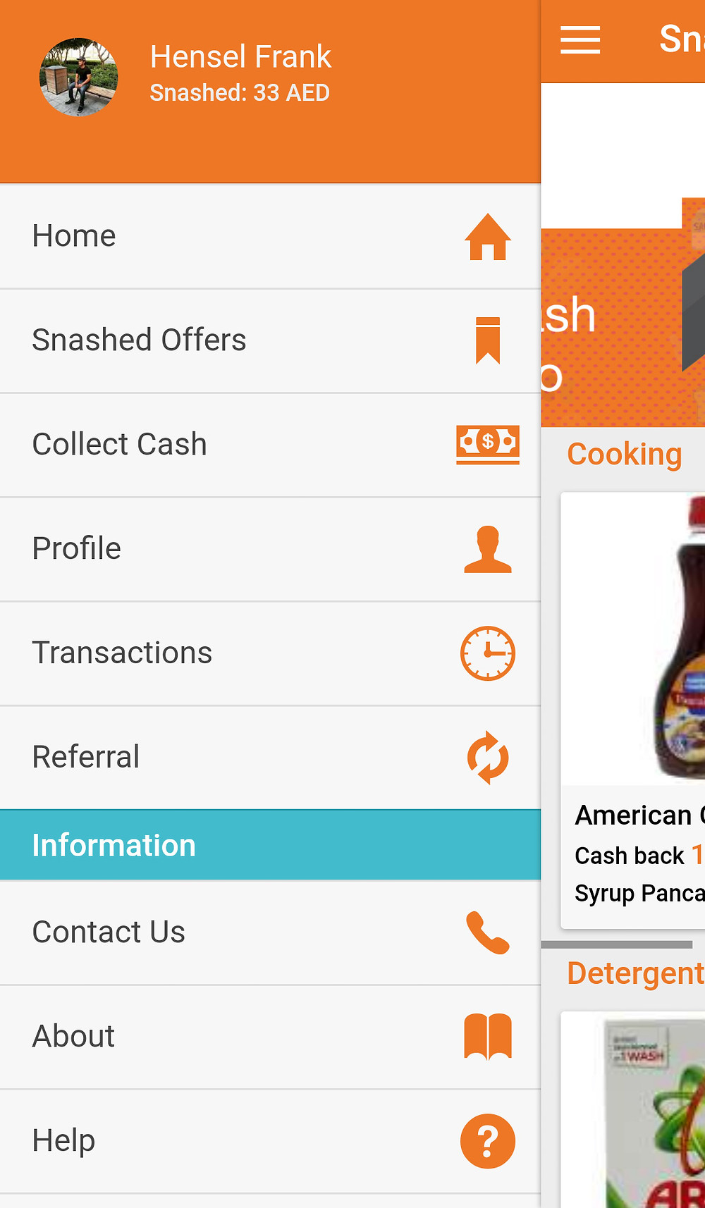 A screenshot of the Snash app displaying the online wallet and snashed offers.