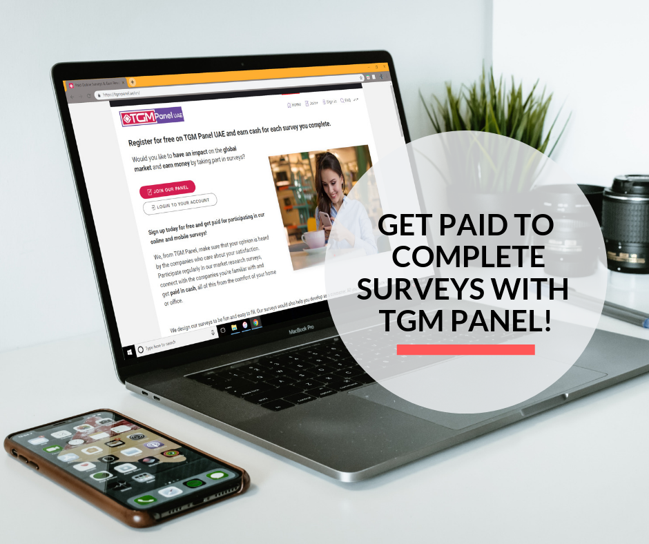A laptop on a desk at home used for completing surveys with TGM Panel UAE.