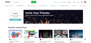 A screenshot of the Fiverr website displaying the recently viewed gigs.