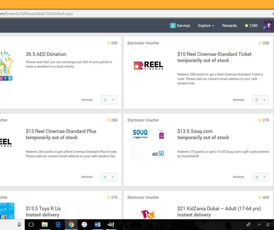 A screenshot displaying the rewards available at Rewarding Panel.