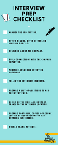 An infographic displaying the steps for interview preparation as a checklist.