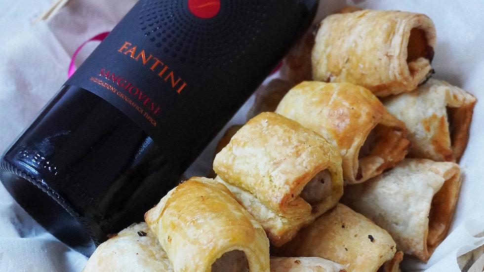 Sausage rolls basket with wine