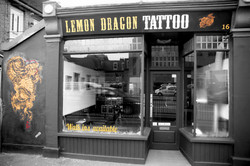 lemon dragon b&w shop front