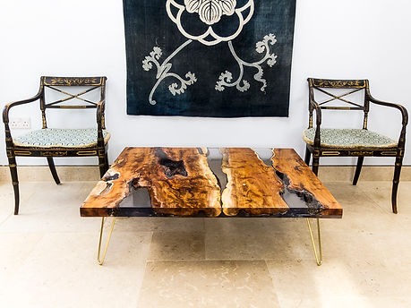 wood resin table brass hairpin legs
