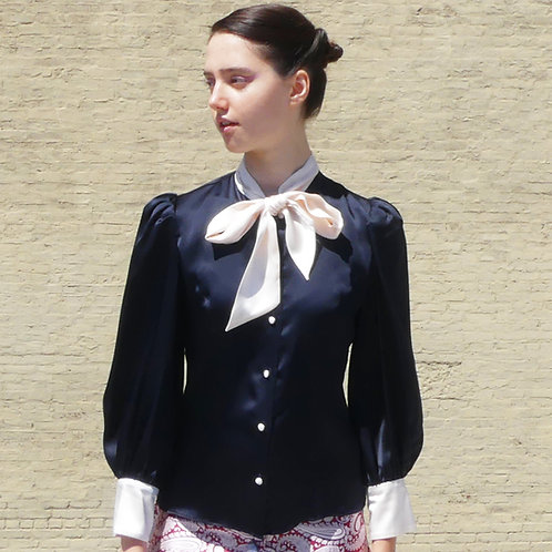 Nico Navy Pale Pink Bow Blouse