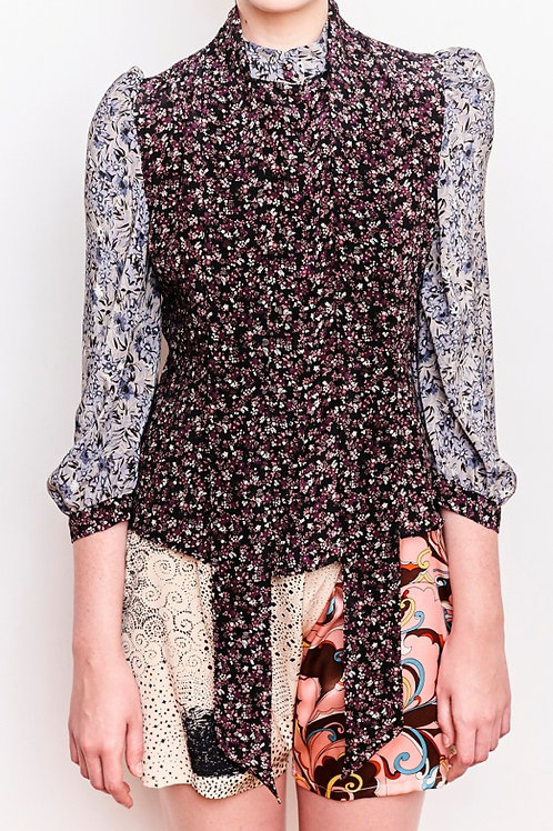 Sofi Purple Floral Blouse and a Skinny Scarf