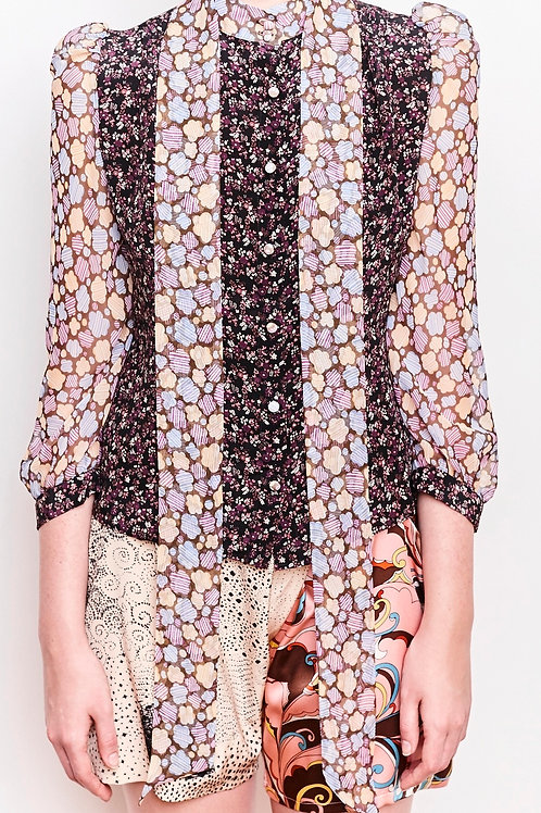 Sofi Pop Floral Blouse and a Skinny Scarf