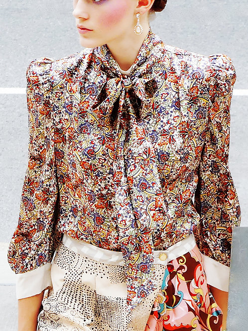 Dia Printed Blouse and a Skinny Scarf