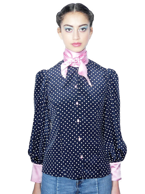 Nico Navy While Polka Dots Printed Pink Bow Blouse