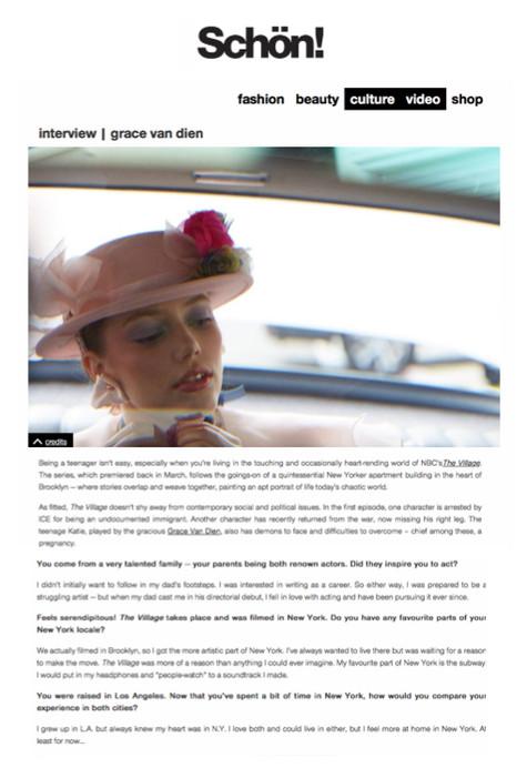 Grace Van Dien x Schon