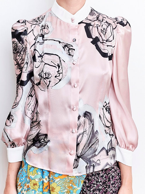 Dia Flower Painting Pink Blouse and a Skinny Scarf