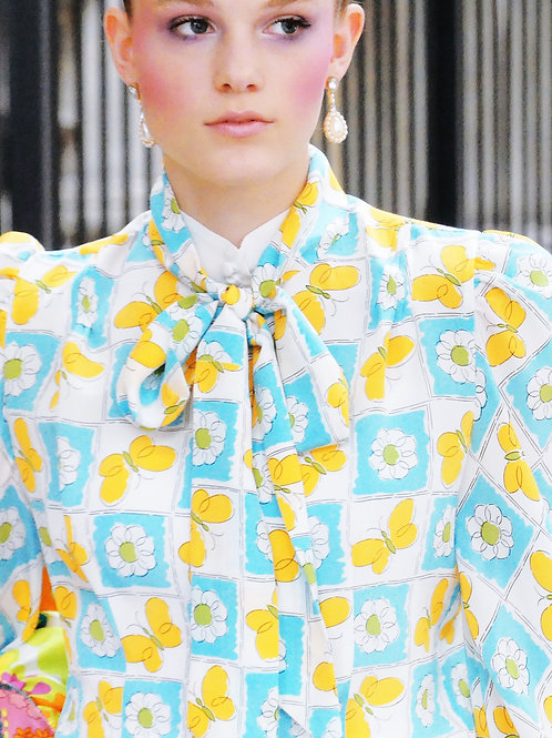 Dia Butterfly Printed Blouse and a Skinny Scarf