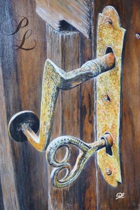 Vieille serrure sur bois Acrylique Vendu
