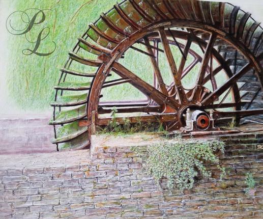Roue du vieux moulin Acrylique 54x65